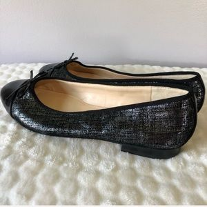 Marc Fisher Jodi Metallic Black Ballet Flats 10